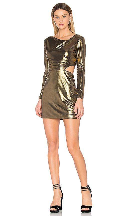 Halston Heritage Cut Out Dress in Metallic Bronze