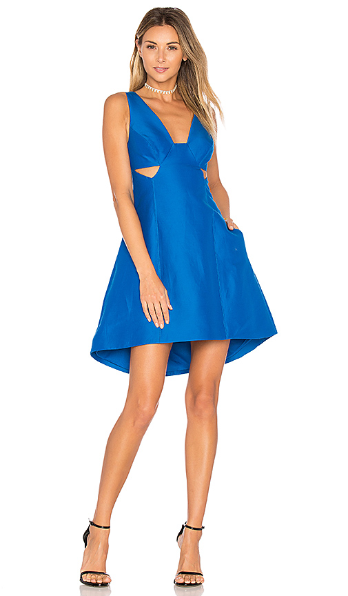 Halston Heritage Cut Out Dress in Blue