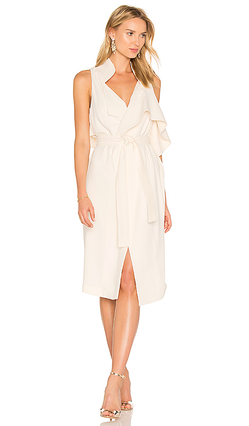Halston Heritage Draped Wrap Dress in Beige. - size L (also in M,S,XS)