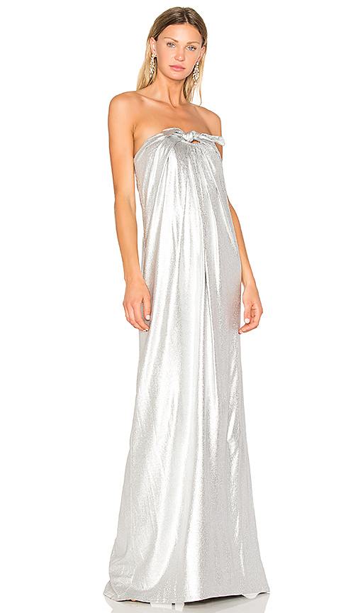 Halston Heritage Gown With Front Twist in Metallic Silver