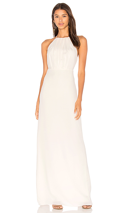 Halston Heritage Round Neck Gown With Flounce Back in White
