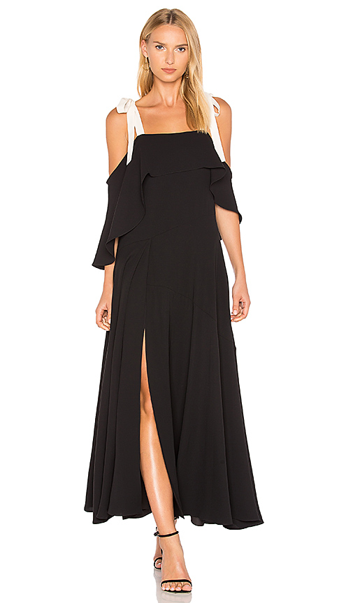 Halston Heritage Cold Shoulder Gown With Flounce Detail in Black