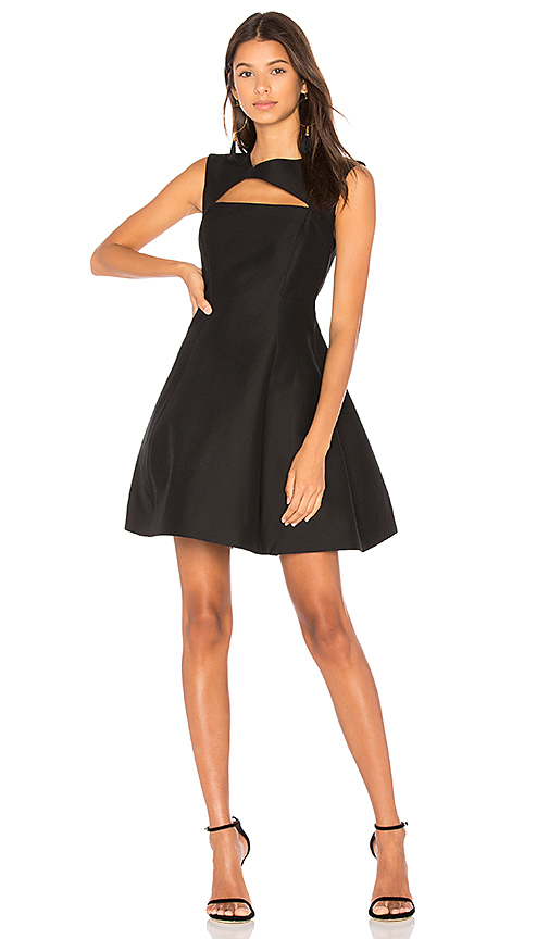 Halston Heritage Asymmetrical V Neck Dress in Black