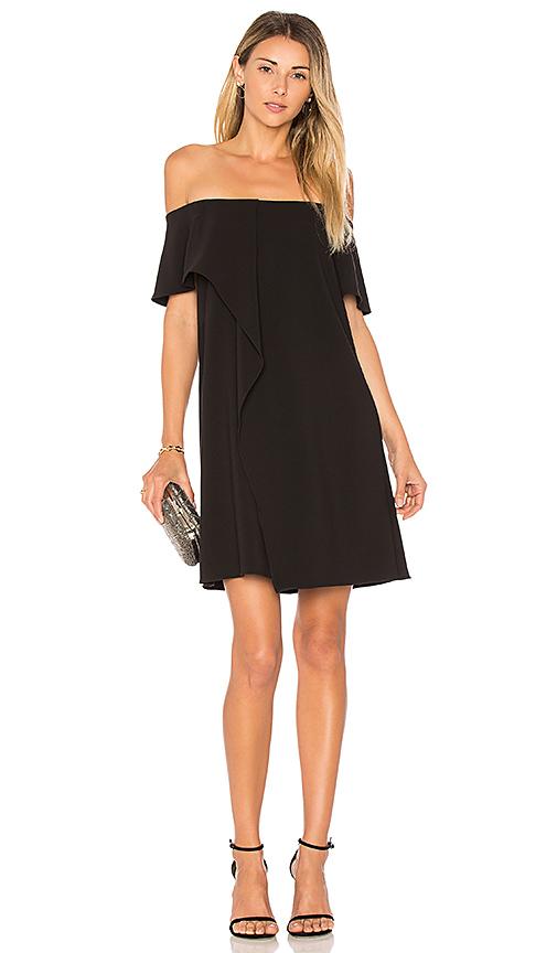 Halston Heritage Cold Shoulder Asymmetrical Drape Dress in Black