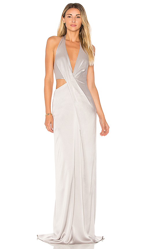 Halston Heritage Deep V Neck Draped Gown in Gray