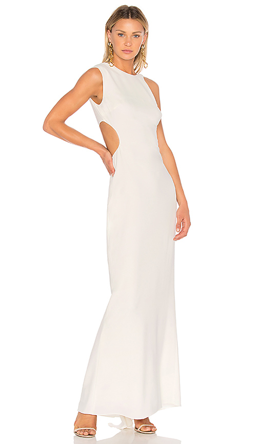 Halston Heritage Asymmetrical Sleeve Round Back Gown in Cream