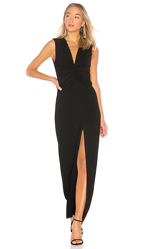 Halston Heritage V Neck Ruched Front Gown in Black