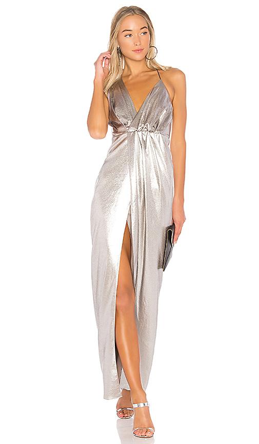 Halston Heritage Halter Neck Asymmetrical Dress in Metallic Silver