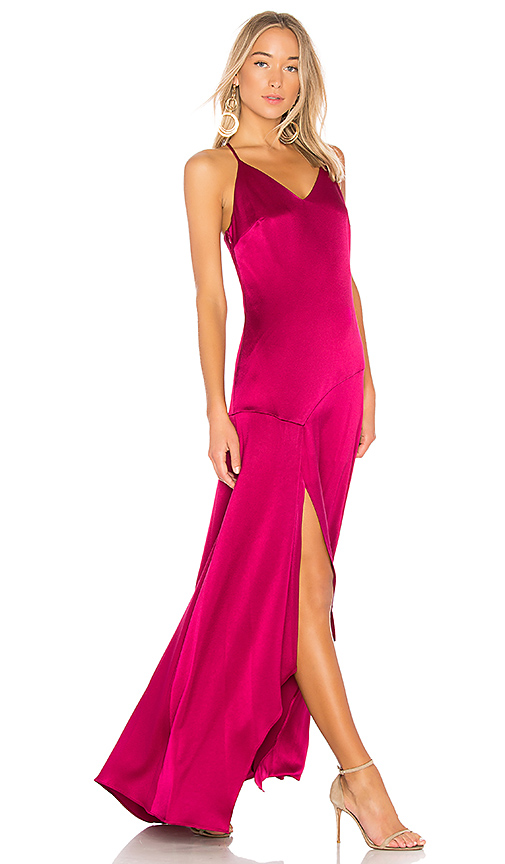 Halston Heritage Slip Dress With Flowy Skirt in Pink