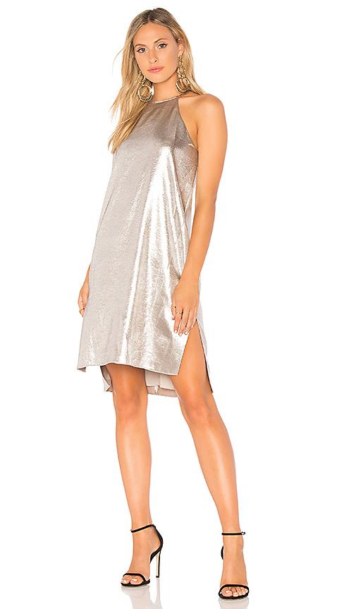 Halston Heritage Racer Back Slip Dress in Metallic Silver