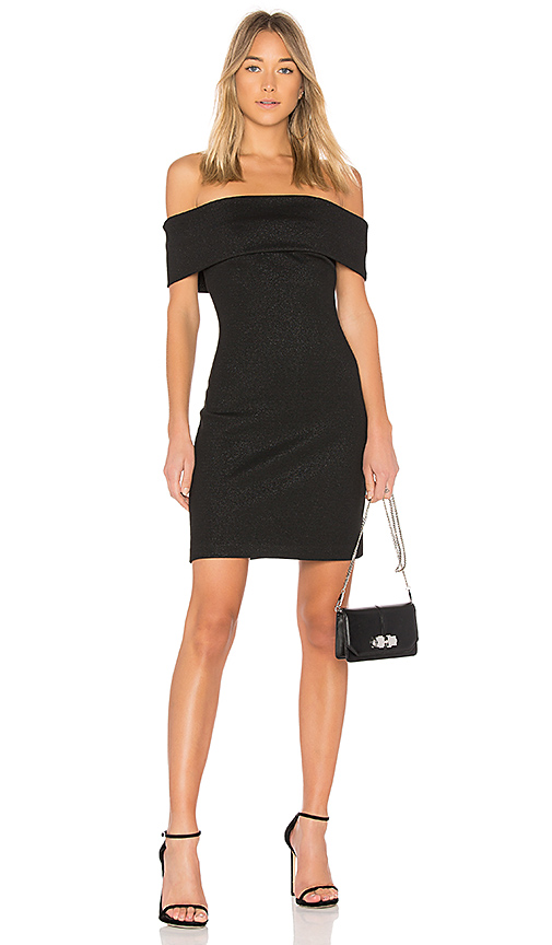 Halston Heritage Off Shoulder Fitted Shimmer Dress in Black