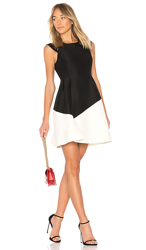 Halston Heritage Round Neck Color Block Dress in Black