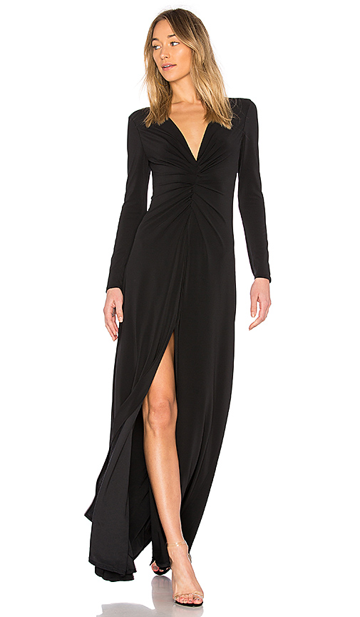 Halston Heritage V Neck Ruched Dress in Black