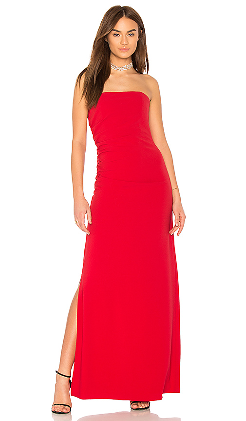 Halston Heritage Strapless Ruched Side Dress in Red