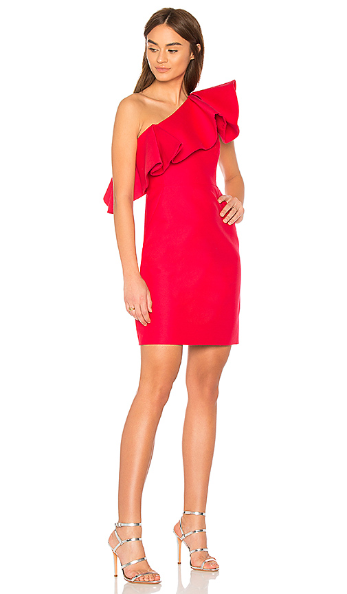 Halston Heritage One Shoulder Dress With Flounce in Red