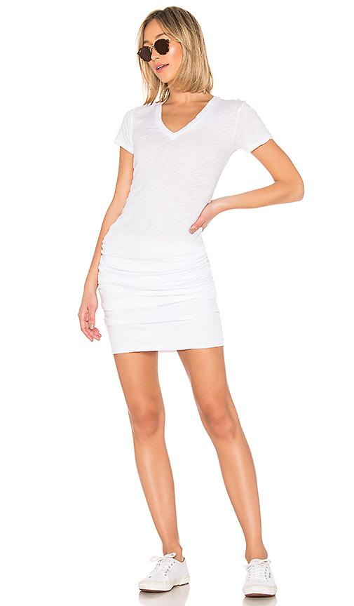 MONROW Shirred Tee Dress in White
