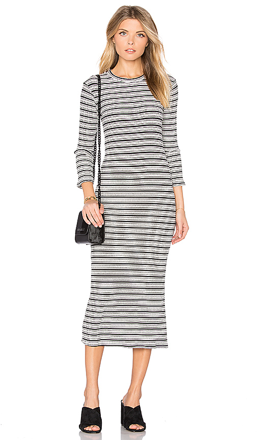 MONROW Stripe Sweater Dress in White. - size L (also in M,S,XS)