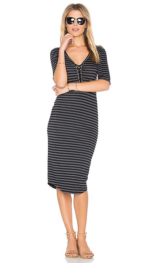 MONROW Stripe Lace Up Dress in Black