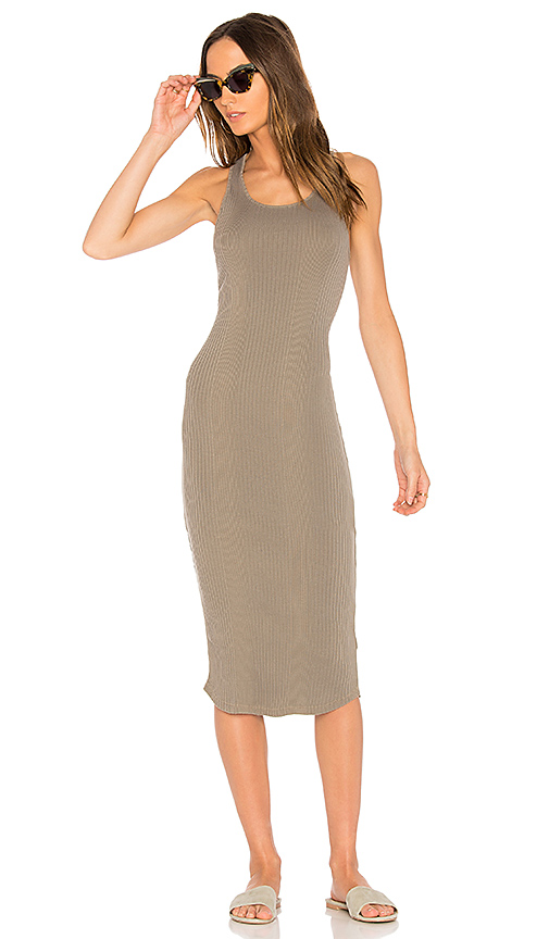 MONROW Scoop Neck Rib Tank Dress in Olive