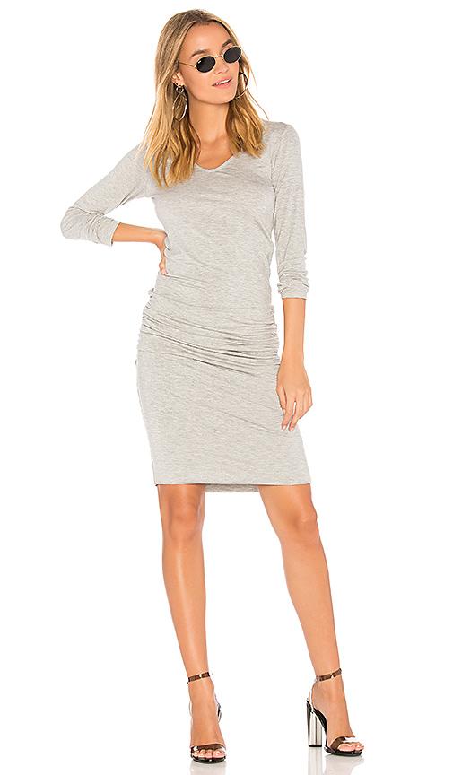 MONROW Long Sleeve Shirred Dress in Gray