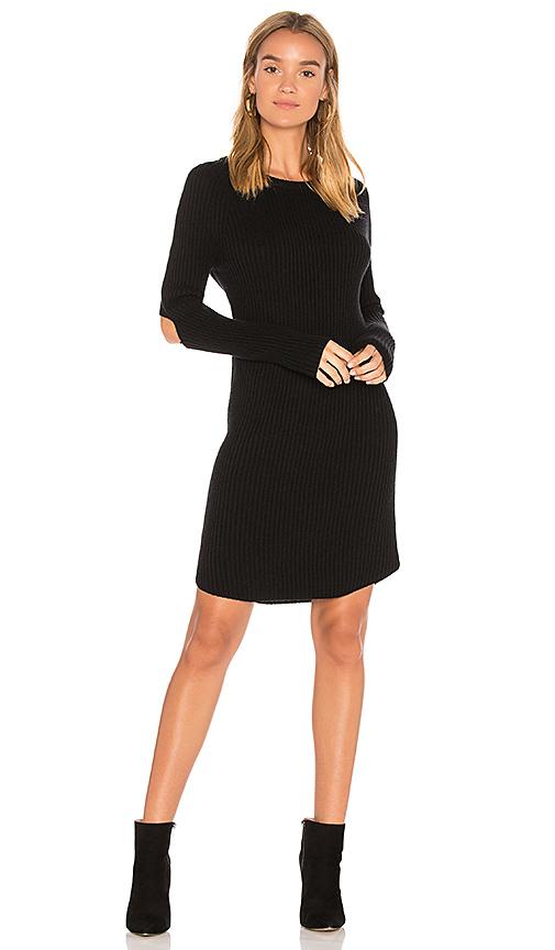 MONROW Elbow Slash Sweater Dress in Black