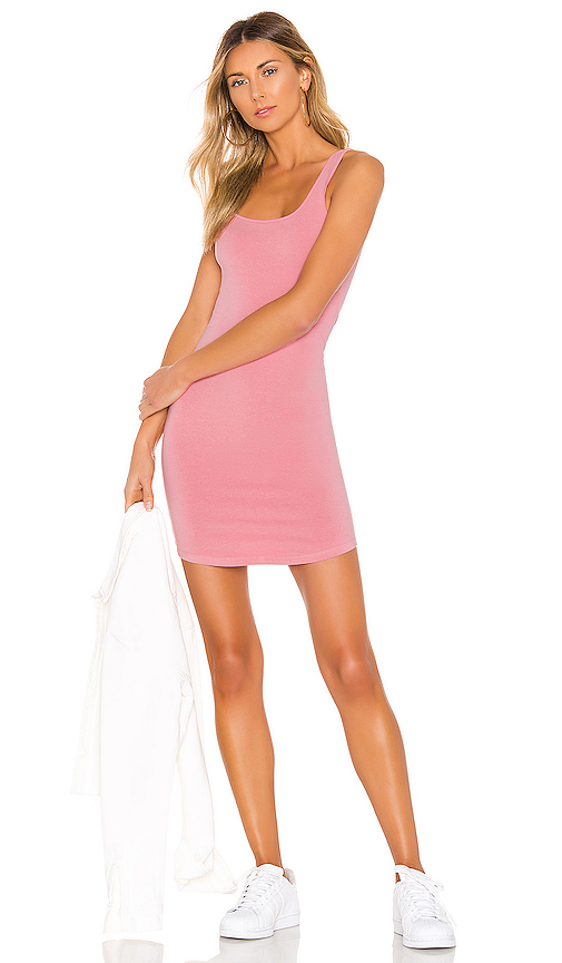 Monrow Square Neck Tank Dress In Pink. In Peachy Pink