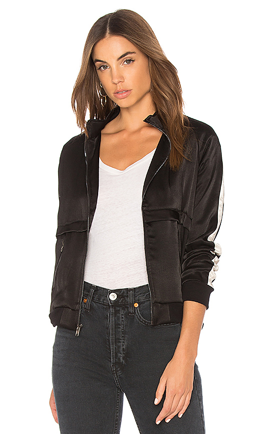 MONROW Track Stripes Jacket in Black