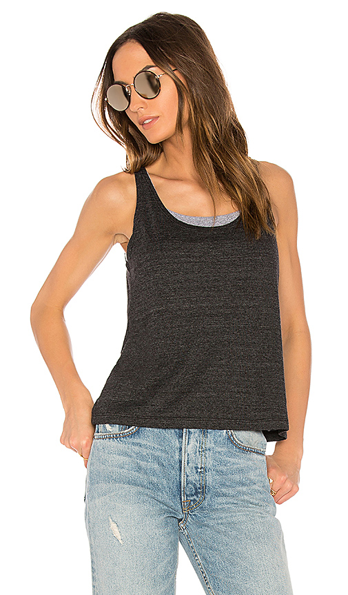 MONROW Double Layer Sports Bra Tank in Charcoal