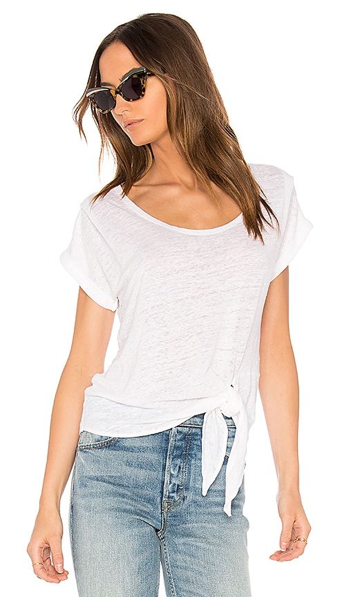 MONROW Side Knot Tee in White
