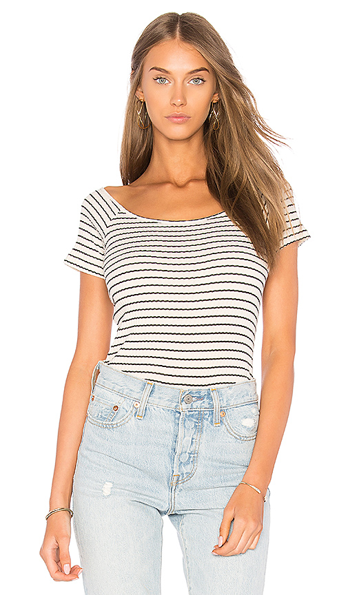 MONROW Stripe Rib Off the Shoulder Top in Cream