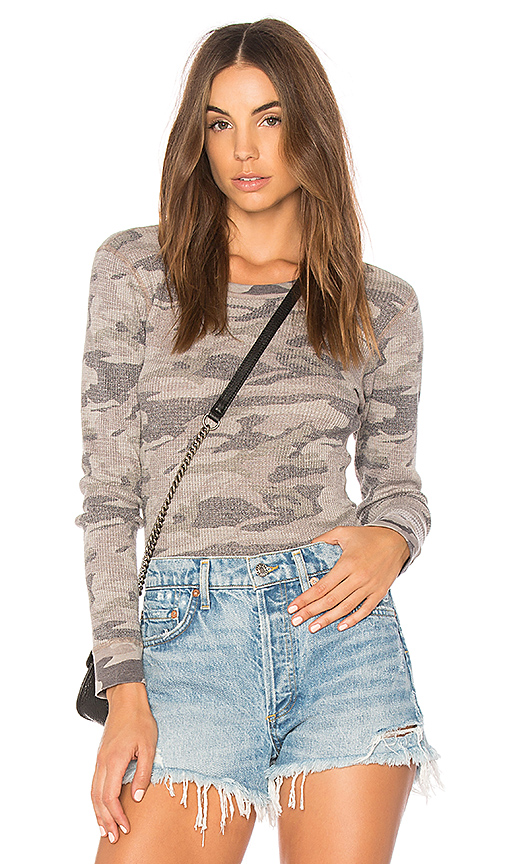 MONROW Camo Thermal Tee in Gray