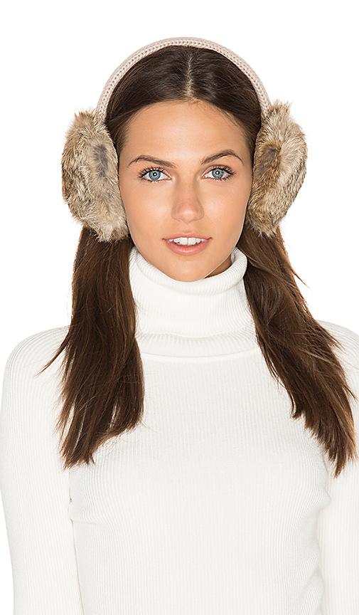 Hat Attack Classic Knit & Rabbit Fur Earmuffs in Beige.