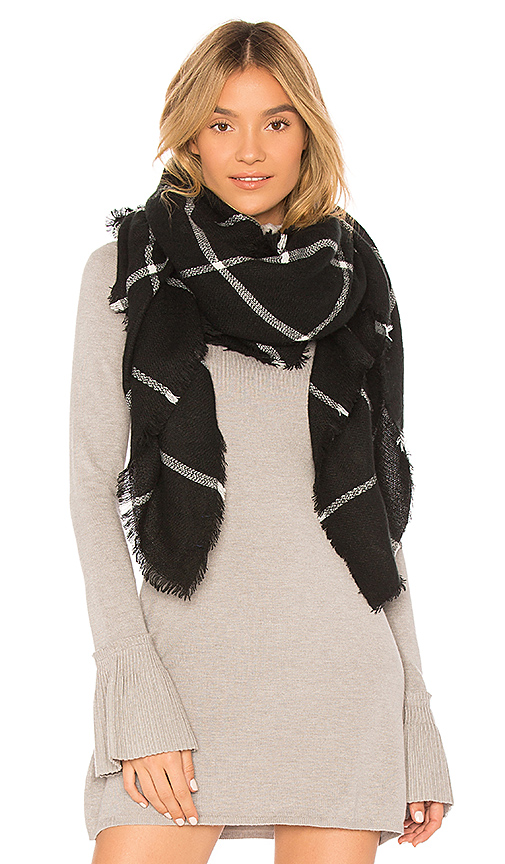 Hat Attack Windowpane Blanket Scarf in Black