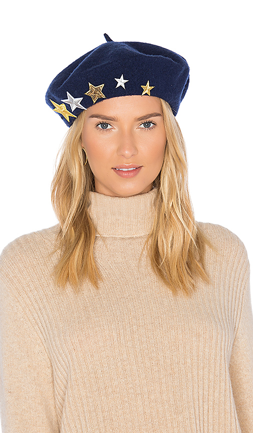 Hat Attack Wool Beret with Star Patches in Navy