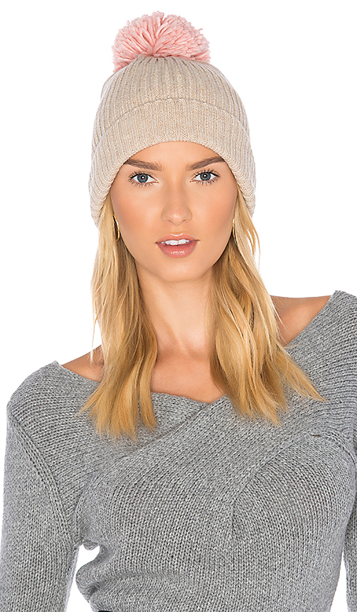 Hat Attack Rib Watch Beanie with Knit Pom in Beige