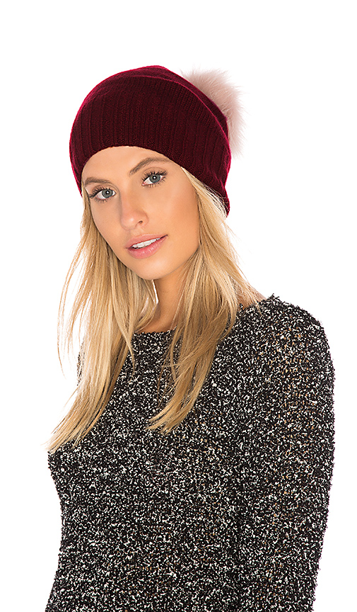 Hat Attack Slouchy Cuff Beanie with Dyed Fox Fur Pom in Wine