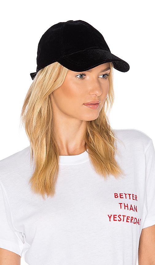 Hat Attack Velvet Baseball Cap in Black