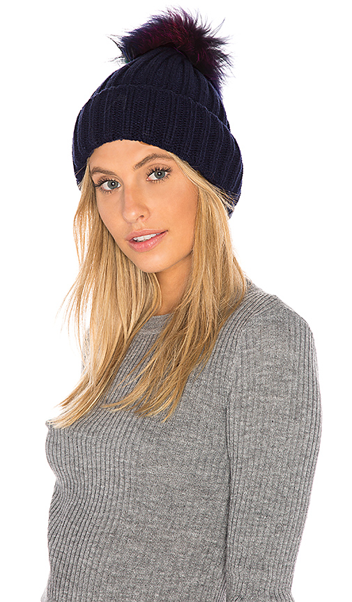 Hat Attack Chunky Rib Beanie with Snap Off Faux Fur Pom in Navy