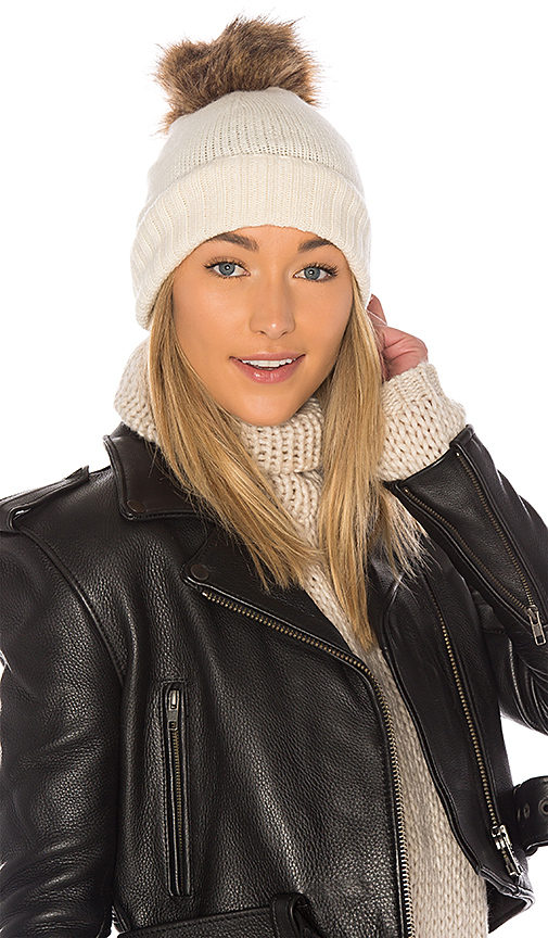 Hat Attack Slouchy Cuff Beanie with Faux Fur Pom in Ivory