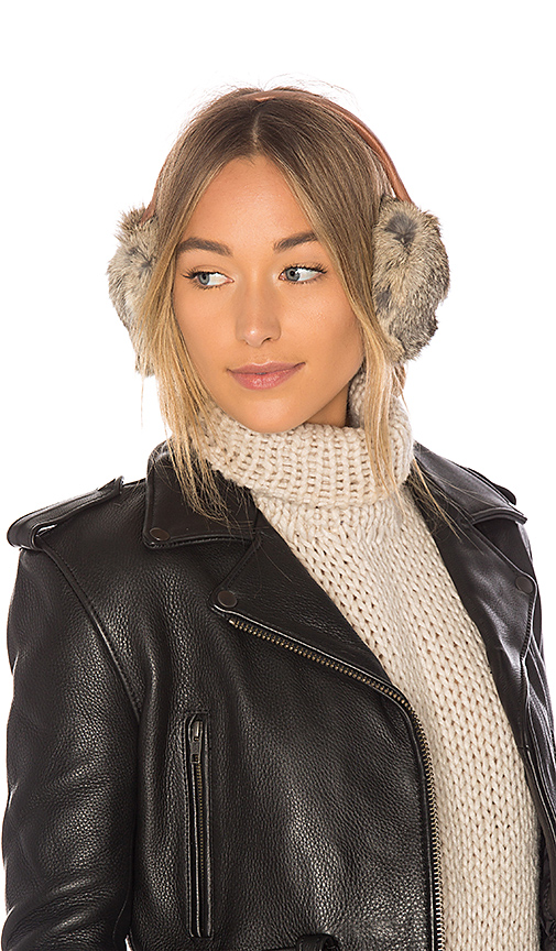Hat Attack Leather and Rabbit Earmuff in Brown