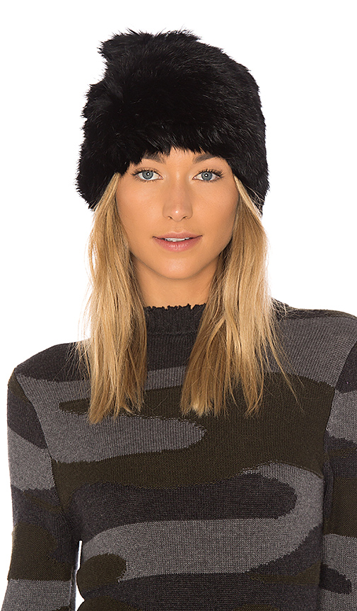Hat Attack All Rabbit Slouchy Beanie with Fur Pom in Black