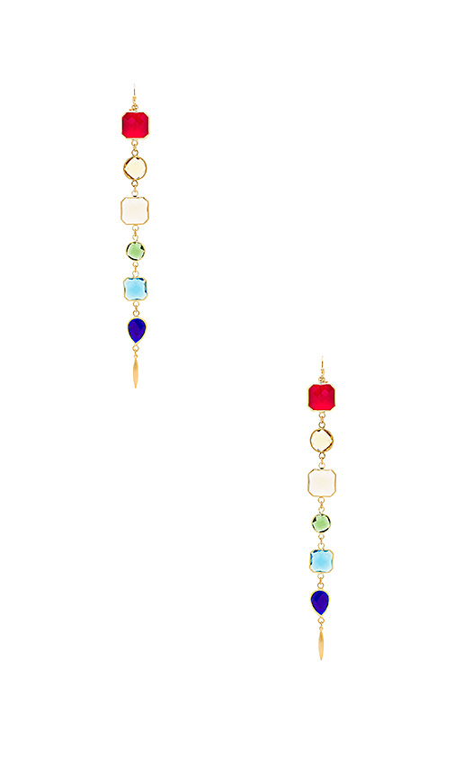 Haus Of Topper Drop Rainbow Earrings in Metallic Gold