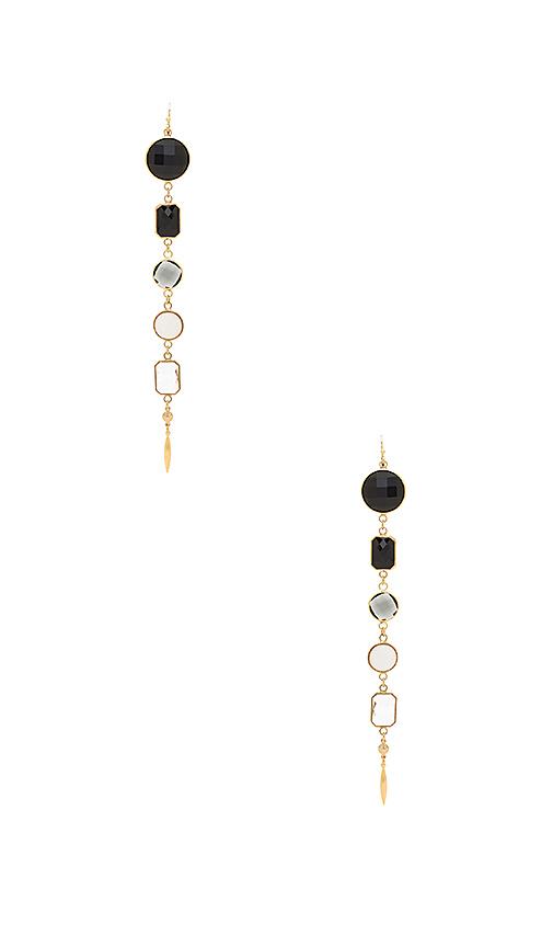 Haus Of Topper Black Ombre Earrings in Metallic Gold
