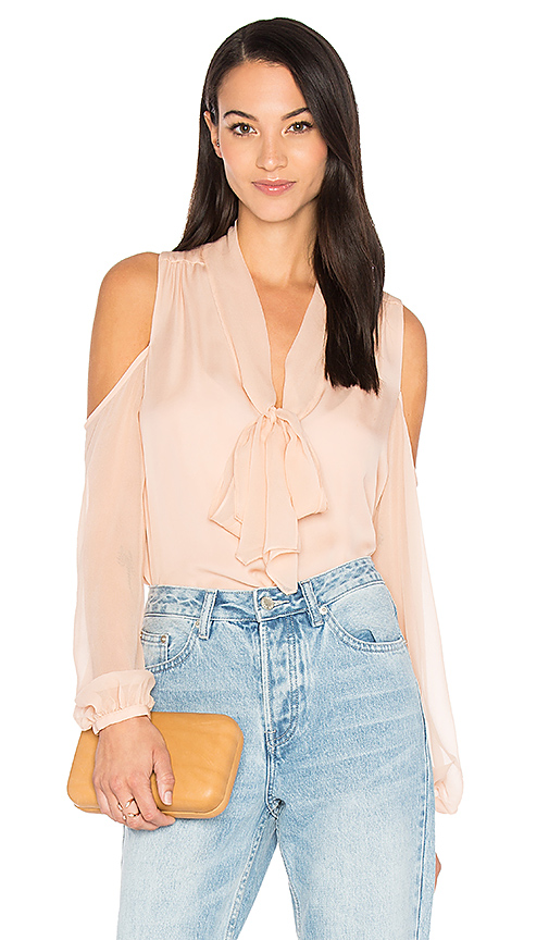 Haute Hippie The Vida Cold Shoulder Blouse in Pink. - size L (also in S,XS)