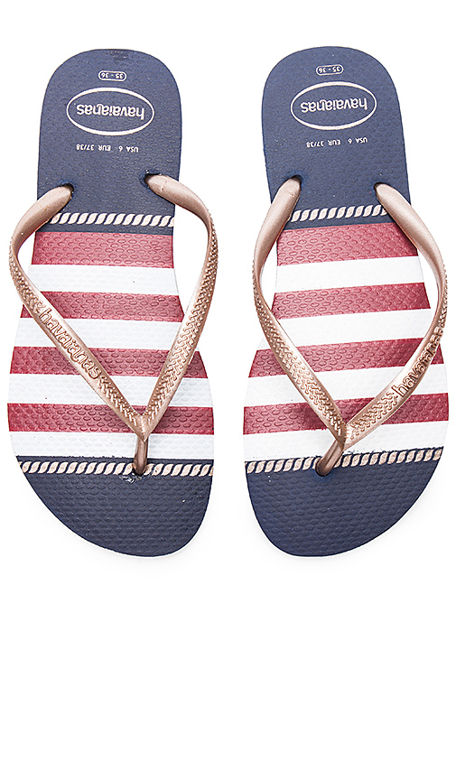 Havaianas Slim Nautical Sandal in Navy. - size US 7/8/ BRZ 37-38 (also in US 9/10/ BRZ 39-40)