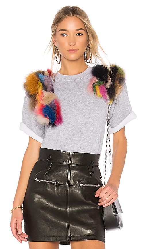 Harvey Faircloth Top With Multicolor Fox Fur in Gray