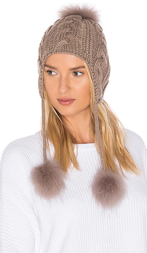 HEARTLOOM Mona Asiatic Raccoon Fur Beanie in Brown