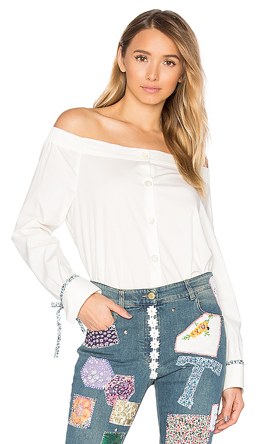 Hilfiger Collection Off The Shoulder Top in White