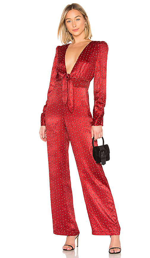 HOUSE OF HARLOW 1960   House Of Harlow 1960 X REVOLVE Vera Jumpsuit In Red. - Size XXS (Also In L,M,XS)   Goxip