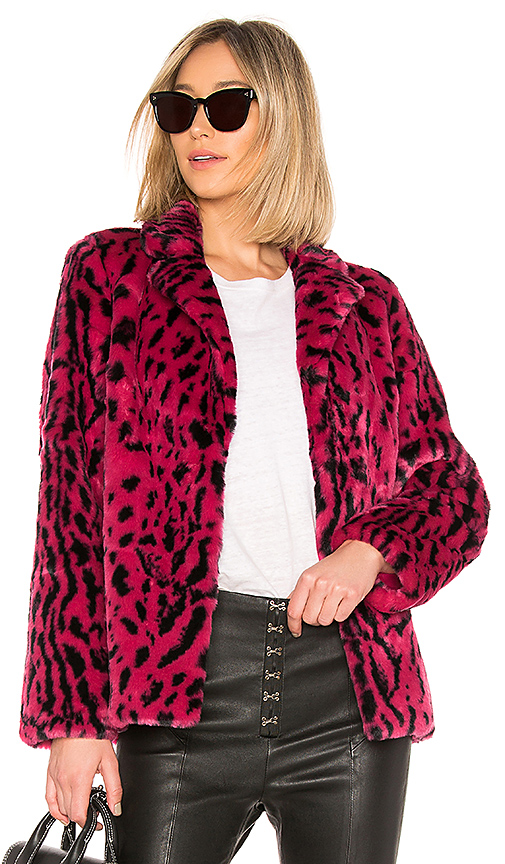 House of Harlow 1960 x REVOLVE Virginia Faux Fur Coat in Fuchsia. Size XS.